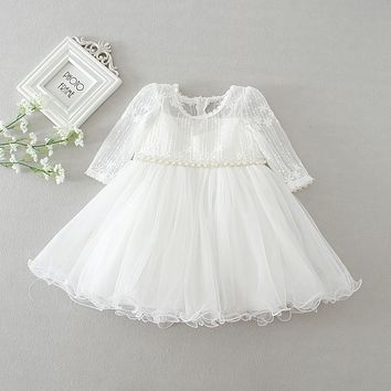 Newest Baby Girl Dress Long Sleeved Infant 1 Year Birthday Party Baptism Dress White Tulle Beaded Baby Christening Gown