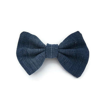 Denim Hair Bow | ponytail holder | hairbow | hairbows | hair accessories | hair tie | hairband | denim hair piece | hairpiece