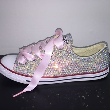 All Star Chuck Taylor Converse Bedazzled In AB Crystal Baby Pink Laces