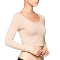 Apricot Long Sleeve Cropped Shirt