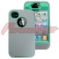 Iphone 4 4s 4g Ultimate Hybrid Impact Defender Case Gray on Teal with Belt Clip Stand - Comparable to Otterbox for Apple Iphone Ipad
