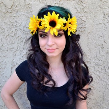 Sun Flower Headband - Sunflowers - Hippie - Festival - Rave - Flower Child - Flower Girl - Coachella - EDC - EDM
