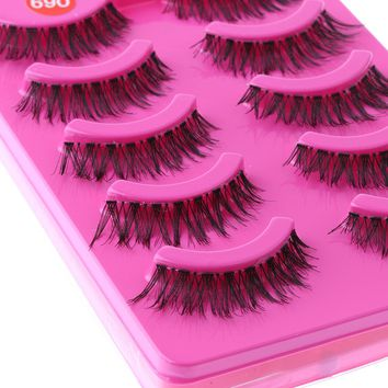 5 Pairs of Women Lady New Popular Handmade Messy Natural Cross False Eyelashes Black Eye Lashes Cosmetic Makeup Tools