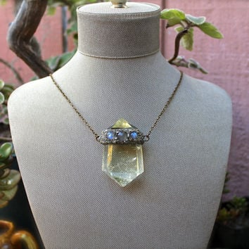Large Citrine Necklace - Citrine Crystal Jewelry - Rainbow Moonstone Necklace - Wiccan Necklace - Bohemian Jewelry - Crystal Quartz Jewelry