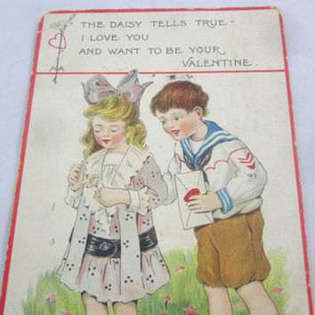 Vintage Valentine 2 Children Boy in Sailor Shirt Girl Picking Petals off Daisy Antique 1915 Valentine Old Valentine Postcard Raphael Tuck