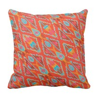 Red Orange and Teal Ikat Print Pillow