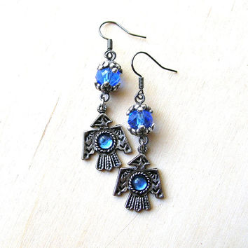 Thunderbird Earrings - Silver Tone Thunderbird - Blue Thunderbird  Earrings - Tribal Earrings