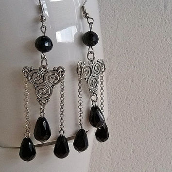 Vintage handmade black earrings Beautiful Czech glass beads Reuse faceted bead Beaded jewelry Dangly chain earring Stunning design Gift idea
