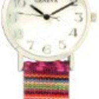 Tribal Print Band Watch-Purple and Pink