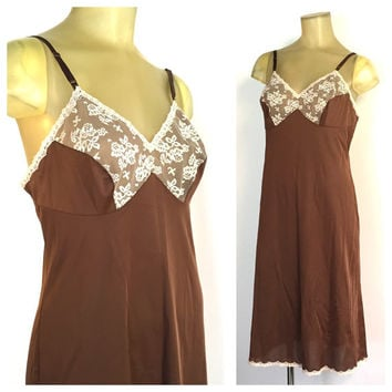 Chocolate Brown Slip, Vintage Lingerie, Lace Full Slip, Ivory Lace Slip, Vanity Fair Lingerie, Brown Satin Slip, Adjustable Straps 36 L