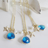 Gold Starfish Necklace, Capri Blue Faceted Glass, Pearl, Sea Breezes, Bridesmaid Jewelry, Destination Wedding