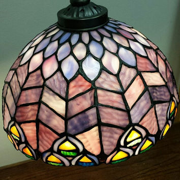 Tiffany Style Decorative Stained Glass Bridge Table Lamp / Water Lily Decorative Bronze Metal Base/ Reading Lamp/ Desk Lamp..Beautiful!