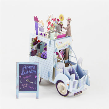 3D Pop Up Greeting Cards Car with Flowers Handmade Valentine Halloween Easter Thank You Wedding Invitation