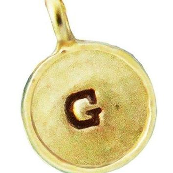 Lucky Feather Gold Plated Letter Coin Charm  Initial G
