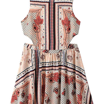 Multicolor Floral Print Cut Out Skater Dress