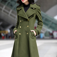 Big Lapel Wool Coat Double Breasted Jacket Military Winter Coat in Army Green - Custom Made - NC475