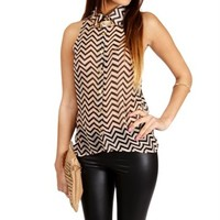 Black/Taupe Sleeveless Chevron Top