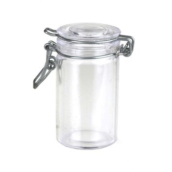 Clear Glass Hinge Locking Lid Candy Jar, 3-Inch, 3-Piece