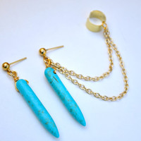 Turquoise spike Ear Cuff. Ear cuff pair. Ear cuff with chain.