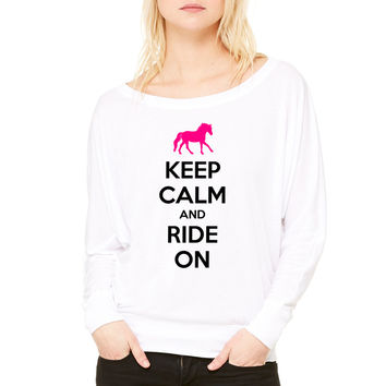 Keep Calm and Ride On Horse Design WOMEN'S FLOWY LONG SLEEVE OFF SHOULDER TEE