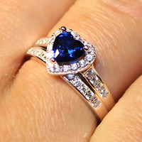 Sapphire Heart Promise Ring With Band – Blue Cubic Zirconia