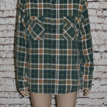 90s Flannel Shirt M Insulated Jacket Coat Tartan Plaid Green Brown White Grunge Punk Hipster Pastel Goth Festival Mens Wear Oversized S L