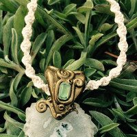 SOLAR QUARTZ Chalcedony Slice PERIDOT Necklace by Nymph-ish deva nature faery faeries fae druid Camelot