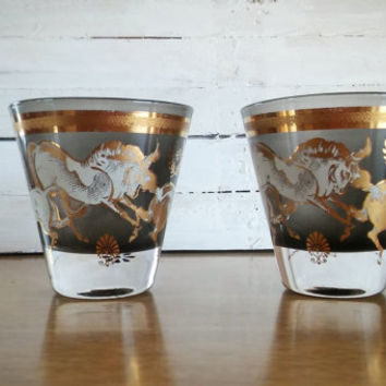 Fred Press Black Frosted Gold Horse Shot Glass Set, Vintage Fred Press Gold Horse Shot Glass Set