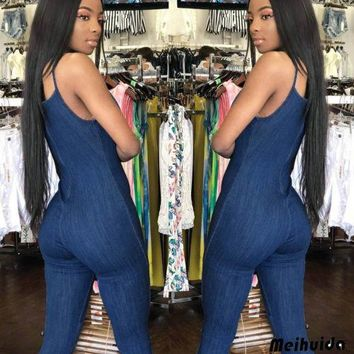Women's Jeans Denim Jumpsuit Sleeveless Style Blue Overall Size Plus Ladies Summer Solid Casual Hater Jumpsuits Clothing