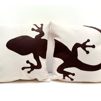 Gecko cushion covers - beige and dark brown - Made to Order