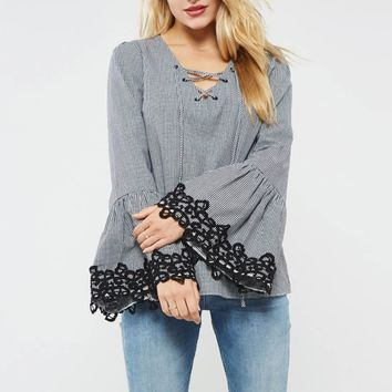 Gingham Pattern Crochet Lace Trim Bell Sleeve
