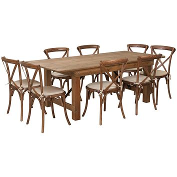 HERCULES Series 7' x 40'' Folding Farm Table Set with 8 Cross Back Chairs and Cushions