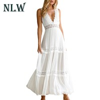 NLW Deep V Neck White Lace Sexy Dress Women Backless Elegant Autumn Winter Hollow Out Maxi Long Party Dresses Christmas Vestidos