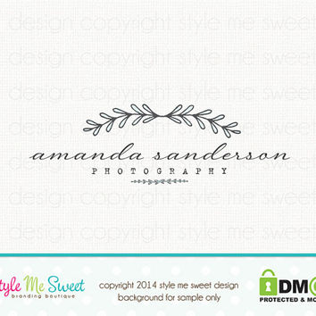 Custom Premade Photography Logo - Leaf Vine Logo Design Photographers Logo Watermark Design
