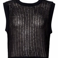 Motel Riley Sleeveless Crop Top in Black Ladder Knit