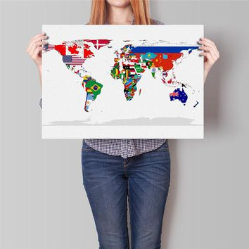 Flag world map Country Flag poster Coated paper Painting Vintage bar pub cafe living room wall sticker no frame for bar cafe