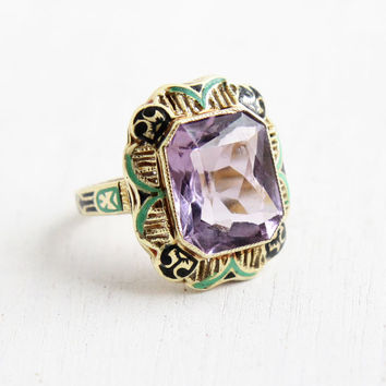 Antique Art Deco 14k Yellow Gold Amethyst & Green, Black Enamel Ring - Vintage 1920s Size 5 3/4 Purple Stone Fine Jewelry, Hallmarked WWW