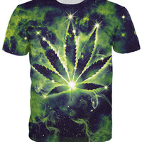 Weed Constellation T-Shirt pot leaf constellation galaxy space summer style t shirt women men  tops tees plus size