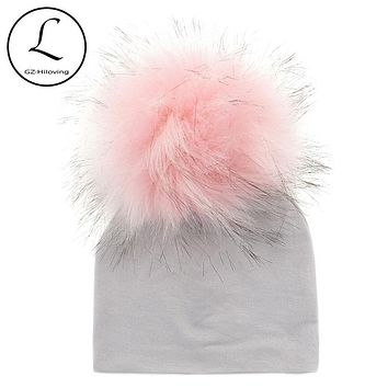 Solid Cotton Newborn Hat Faux Fur Baby Cap Pompom Bobble Hat For Kids Winter Boys And Girls Caps Artificial Fur Children's Hats