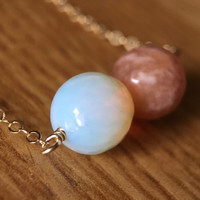 Moonstone and Sunstone bead gold necklace / bridesmaid necklace / dainty necklace / birthstone necklace