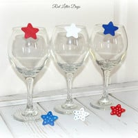 Fourth of July Wine Charms, Star Wine Glass Clips, Patriotic Wine Decor