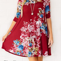 Plus Sized Over My Head Floral Dress Burgundy