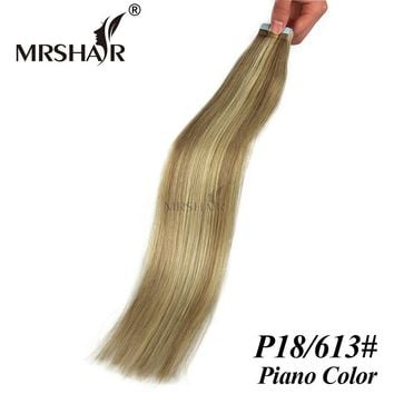 """MRSHAIR P18/613# Tape In Human Hair Extensions Mixed Blonde Brazilian hair straight Double Sided Tape Extensions 20pcs 16"""" - 24"""""""