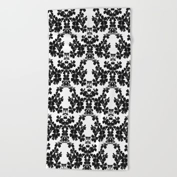 primrose bw pattern Beach Towel by ARTbyJWP