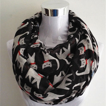 2015 New Fashion animal print  Scarf Snood Runnning Cat infinity scarf hot sale Women scarves
