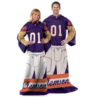 Clemson Tigers NCAA Adult Uniform Comfy Throw Blanket w- Sleeves