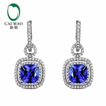 14KT White Gold 3.5 ct Natural IF Blue Tanzanite AAA  0.53 ct Round Cut Diamond Cushion Halo