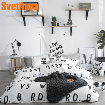 Svetanya Sheet Pillowcase Duvet Cover set Cotton Bedding sets Single Queen Double Size Bedlinen Black White and Gray Series