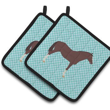 English Thoroughbred Horse Blue Check Pair of Pot Holders BB8087PTHD