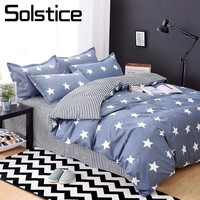 Solstice Home Textile Child Teen Boy Bedding Set Blue Stripe Star Duvet Quilt Cover Pillow Case Sheet Girl Adult Bed Linens Suit
